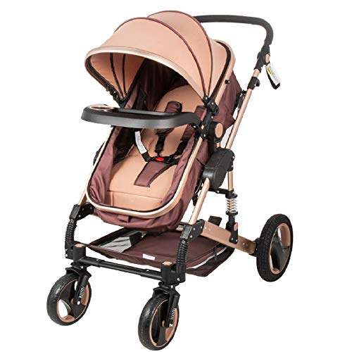 Happybuy Baby Stroller 2 in 1 Khaki Portable Baby Carriage Stroller Anti-Shock Springs Foldable Luxury Baby Stroller Adjustable High View Pram Travel System Infant Carriage Pushchair
