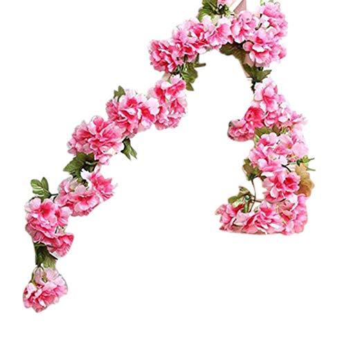 Daliuing Pink Cherry Blossom Vine Christmas Garland Flower Leaf Rattan Fairy String Artificial Encrypt Garlands Christmas Garland Artificial Flowers