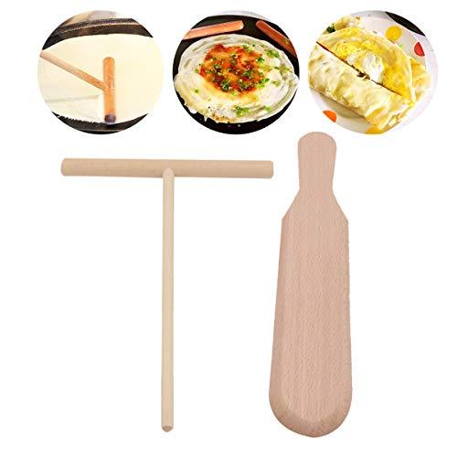 Hebudy - Pala de madera para hacer crepes, espátula de mezcla de madera de haya, esparcidor de crepes, herramientas de cocina, 2 unidades