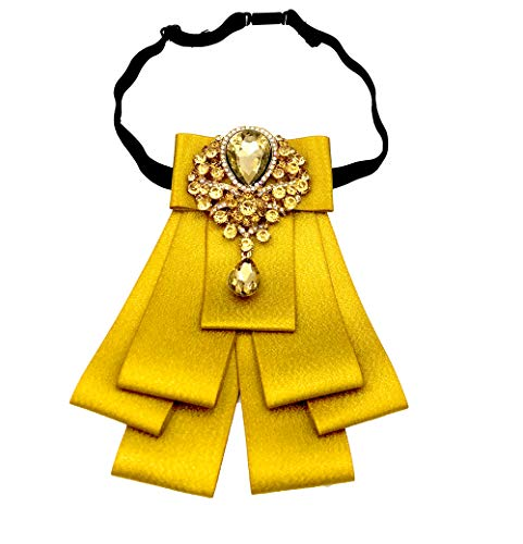 Womens bow tie Pre-Tied of the Rhinestone Ribbon Bow brooch Collar Brooch Pin (Gold)