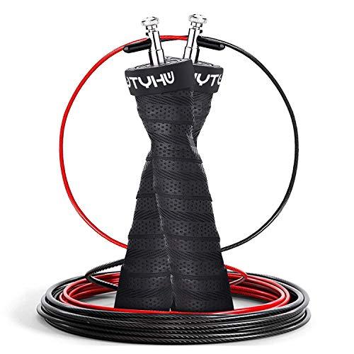 Redmoo Springseil Sport, Speed Rope Für Fitness 3M, Ausdauer & Abnehmen, Anti-Rutsch Griffe Crossfit, Profi Sport, Boxen, Training Erwachsene, Kinder (Schwarz)