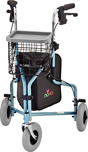 "NOVA Medical Products NOVA Traveler 3 Wheel Rollator Walker All Terrain 8"" Wheels Includes Bag Basket and Tray Diamond Sky Blue"