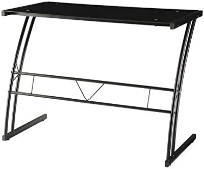 Coaster Contemporary Black Writing Desk with Tempered Glass Top