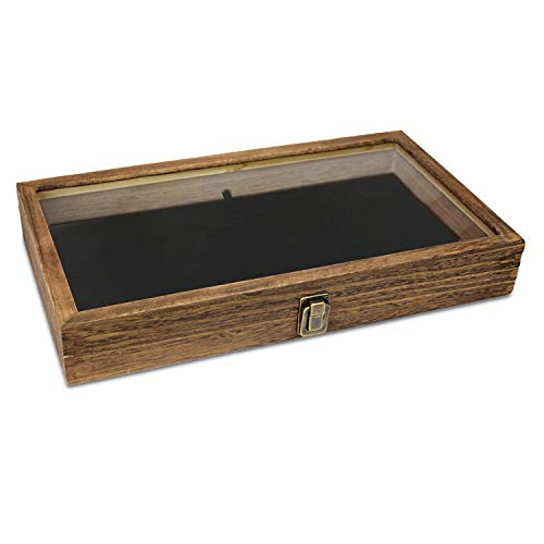 Mooca Wood Glass Top Jewelry Display Case, Wooden Jewelry Tray for Collectibles, Home organization, Accessories Storage Box with Metal Clasp and Black Velvet Pad, Brown