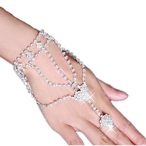 VORCOOL Kristall Strass Armbänder Armreif mit Ring Kette Armschmuck