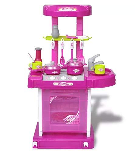Zerone Cocina Juguete Rosa, Cocinita de Juguete con Efectos de Luz y Sonido para Niños
