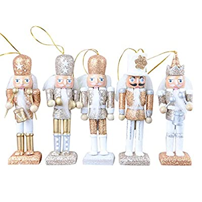 FORSHE Christmas Nutcracker Ornaments Set, Wooden Nutcracker Figures Soldier Puppet Toy for Christmas Themed Party Outdoor Yard Tree Hanging Decoration