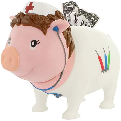 LILALU Spardose BIGGYS Krankenschwester, Sparschwein Kopf drehbar Sparbox Sparbüchse Münzeinwurf Piggy Bank Tresor