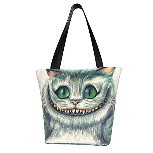 Cheshire gatto donna tela shopping bag grande capacità una spalla borsa stampata ambientale riutilizzabile tempo libero ufficio scuola shopping