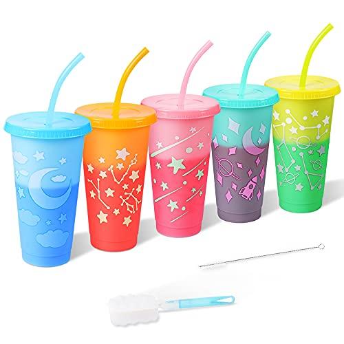 CODREAM Farbwechsel Becher für Eis Getränke - 5 Stück Wiederverwendbar Ice Kaffeebecher Mug Kunststoff Trinkbecher mit Deckel Strohhalm - 720ml Kinder Plastik Smoothie Tasse Camping Party Go Cup