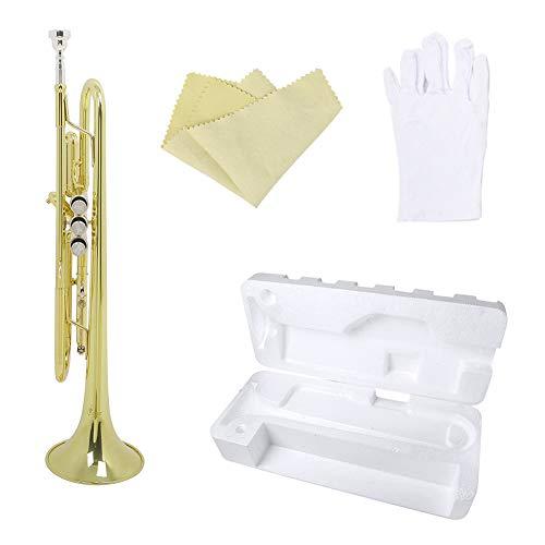 LJRnyi Bb Trompete Mit/Zubehör Gold Bb Trompete Für Anfänger Und Fortgeschrittene Mit Zubehör, Mundstück, Reinigungstuch