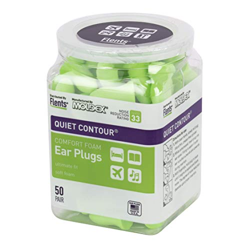 Flents Ear Plugs, 50 Pair, Ear Plugs for Sleeping, Snoring, Loud Noise, Traveling, Concerts, Construction, & Studying, Contour to Ear, NRR 33