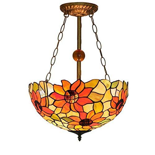 Lámpara de techo colgante vintage Tiffany, diseño de girasol, multicolor, de cristal, araña clásica E27, para salón, comedor, dormitorio, cocina, diámetro de 40 cm