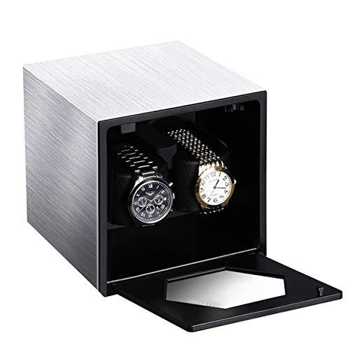 CRITIRON Automatischer Uhrenbeweger für 2 Uhren mit Netzteil Teilen Batterie Watch Winder Uhrenbox Uhrenwender Uhrenvitrine Uhrendreher Uhrenwender Silber