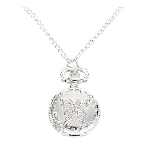 SODIAL(R)Silber Quarz Schmetterling Arabische Ziffern Taschenuhr mit Vintage Halskette