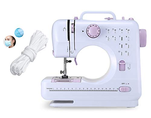 Portable Sewing Machine for Adult Beginners Electric Household Mini Sewing Machine Tool, 12 Built-in Stitches, 2 Speeds Double Thread, LED Light, Thread Cutter and Foot Pedal Included for DIYer