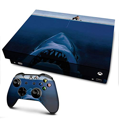 Skins for xBox One X 1 Vinyl Wrap - Protective Overlay Decal stickers skin cover - Jaws Great White Under Boat