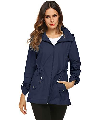 Avoogue Rain Jacket Women Hooded Zip Up Athletic Sport Coat Navy Blue S