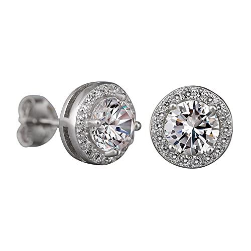 Par de pendientes redondos de plata y oro pequeños pendientes de circonita y circonita para mujeres y niñas