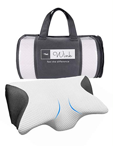 WINK Memory Foam Neck Pillow Eyelash Extension - Ergonomic Cervical Contoured Pillow for Neck Pain Relief - For Side and Back Sleeping - Firm Pillow with Removable Pillow Case - Carrying Case Included