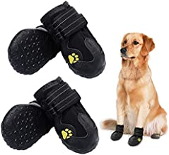 PK.ZTopia Waterproof Dog Boots, Dog Outdoor Shoes, Pet Rain Boots, Running Shoes for Medium to Large Dogs with Two Reflective Fastening Straps and Rugged Anti-Slip Sole (2.76