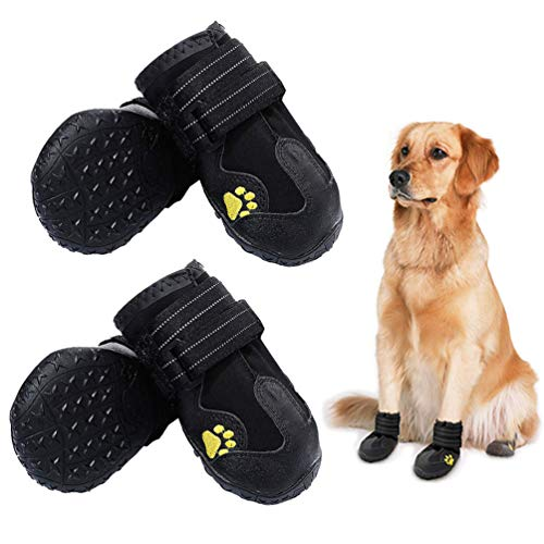"""PK.ZTopia Waterproof Dog Boots, Dog Outdoor Shoes, Dog Rain Boots, Running Shoes for Medium to Large Dogs with Two Reflective Fastening Straps and Rugged Anti-Slip Sole (3.15"""" x 2.76"""",Black 4PCS)."""