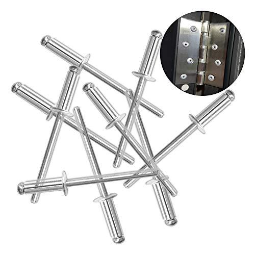 Hub's Gadget 80pcs 3/16 x 3/4 Inch (4.8 x 20mm) Aluminum Blind Rivet Self-Plugging Open End Decorating Fastener Nails Pop Rivets Core Pulling Rivets