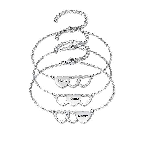 3PCS Personalized Name Heart Bracelet Best Friend Bracelet for 3 Sister Jewelry Link Chain Gift Friendship Adjustable Custom Names Engraved Love Bracelets for Women (3PCS)