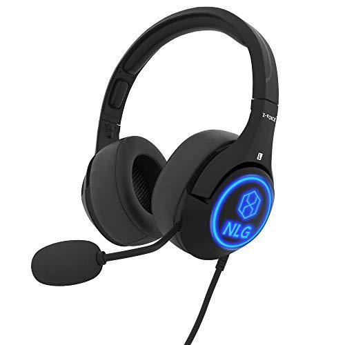 NLG Pro Gaming Headset PC, Xbox One, PS4, PS5 Kopfhörer mit Mikrofon, Stereo Surround Sound, stufenlos verstellbar, Over Ear, LED, Geräuschunterdrückendes Mikrofon (einfahrbar), extra Ohrmuscheln