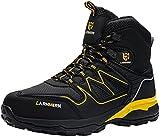 LARNMERN PLUS Botas de Seguridad Hombre S1P Zapatos de Seguridad Respirable Ligero Comodo Antideslizante Antiestático Calzado de Seguridad Trabajo Zapatillas Seguridad Puntera Acero(Negro,41EU)