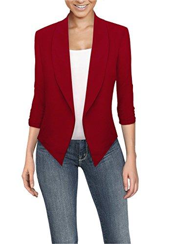 Womens Casual Work Office Open Front Blazer JK1133X RED 2X