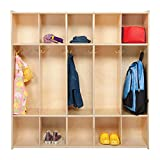 Contender 5 Section Daycare Cubby Coat Rack, Backpack Hanger, School Locker Organizer, Mudroom Furniture With Storage & Hooks for Daycare, School, Home - Made in USA