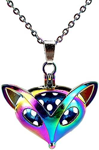 banbeitaotao Color del Arco Iris Cabeza de Zorro Jaula de Cuentas magnéticas Caja Colgante Collar con Colgante Aromaterapia Difusor de aceites Esenciales Regalo Divertido Collar de Acero Inoxidable