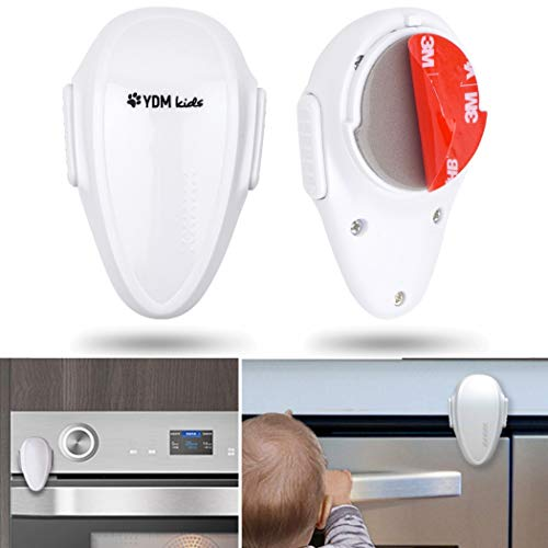2 x Loquets de Sécurité enfant pour le four dans la cuisine, Verrous adhésifs 3M résistants à la chaleur, Bloque -porte pour Enfants et Bébé, pour le lave-linge et autres appareils ménagers, blanc