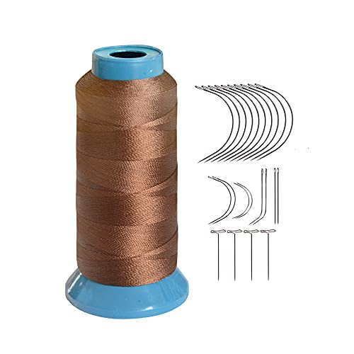 Brown Weaving Thread High Strength Polyster Thread Size 210 D with 12 pcs of 9cm-C Type Needles/Curved hair Needles for Sew