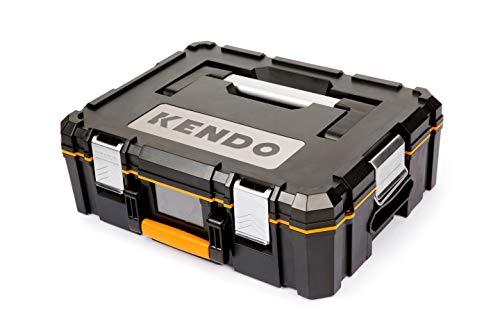 KENDO Systemkoffer – Größe S – Volumen: 25 Liter – Größe: L46 x B36 x H15 cm – Aus extrem stabilem ABS-Kunststoff – Max. Belastbarkeit 30 kg – Für Kleinteile und Werkzeug