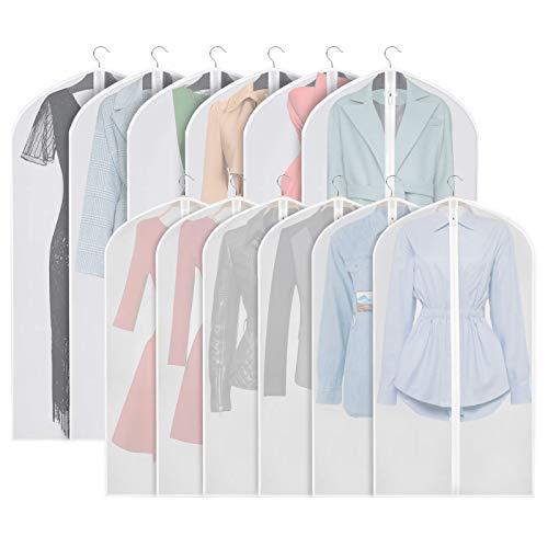 12 Pack EVA Clothes Cover Set Translucent Hanging Garment Bags Waterproof Dustproof Carrier Protector Bags with Zipper for Men Women (6pcs 60 * 100cm + 6pcs 60 * 120cm)