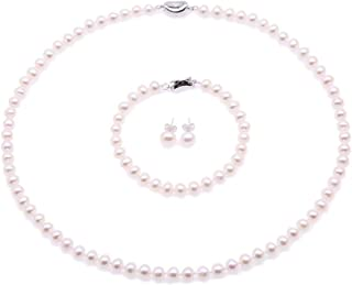 JYX Pearl Necklace Set AA+ 6-7mm Natural White Freshwater Cultured Pearl Necklace Bracelet and Earrings Set for Women