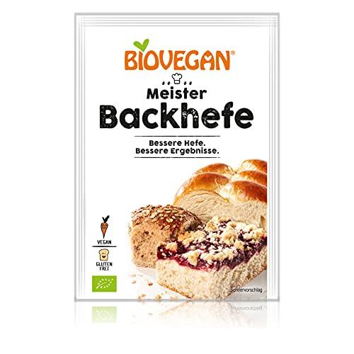 Biovegan Meister Backhefe, frische Hefe getrocknet zum Backen, maximale Hefe-Kraft, ideal für Brot, Kuchen und andere Speisen, glutenfrei und vegan 25x7g (175g)