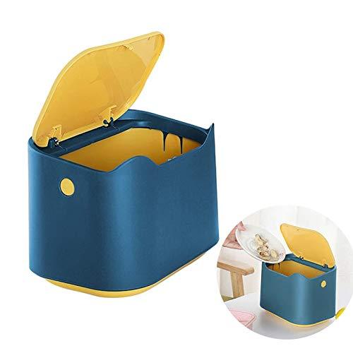 Cubo de Basura de Mesa con Tapa, Papelera de Escritorio Mini Bote de Reciclar, para el Hogar Cocina Sala Estar Dormitorio Baño Oficina Papelera(azul-amarillo)