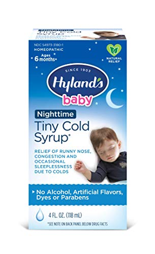 Baby Nighttime PM Cold Syrup by Hyland's, Natural Relief of Runny Nose, Congestion and Sleeplessness, 4 Ounce