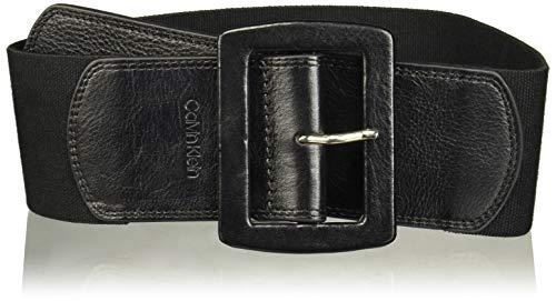 Calvin Klein Women's Linen Stretch Belt, Black/Natural/Polished Nickel, Medium/Large