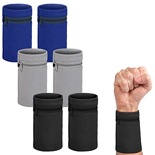 6 Pieces Wrist Sweatbands Wrist Wallet Wristband Pocket with Zipper Sports Color Wrist Pouch Phone Coin Keys Storage for Women Men Running Walking Hiking Jogging (Grey, Black, Blue)
