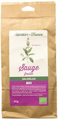 LHerbier de France Sauge Feuilles Bio Sachet Kraft 40 g - Lot de 3