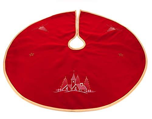 heimtexland ® Weihnachtsbaum-Decke Rund 90 cm Bestickt Rot Gold Weihnachts-Deko Baumständer-Schürze Typ618