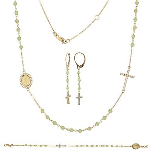 Gioiello Italiano - Parure rosario in oro giallo con zirconi e pietre verdi; bracciale, collana e orecchini, da donna