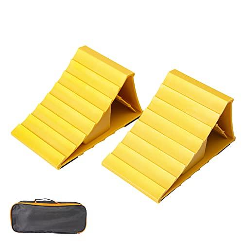 leadstand Unterlegkeile für Autos, rutschfeste Unterseite, für Wohnwagen, Anhänger, gelbe Kunststoffkeile, geeignet für die meisten Reifengrößen, 2 Stück