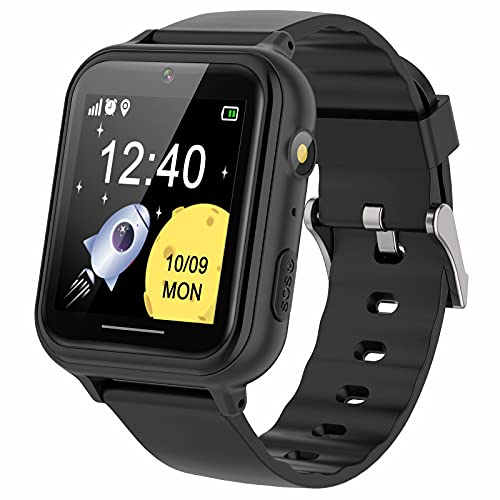 PTHTECHUS Reloj Inteligente niño - Música Smartwatch para Niños Pantalla Táctil con podómetro Juegos Cámara Linterna Alarma Reloj niños y niñas de 8-12 años Regalo, S19 Negro