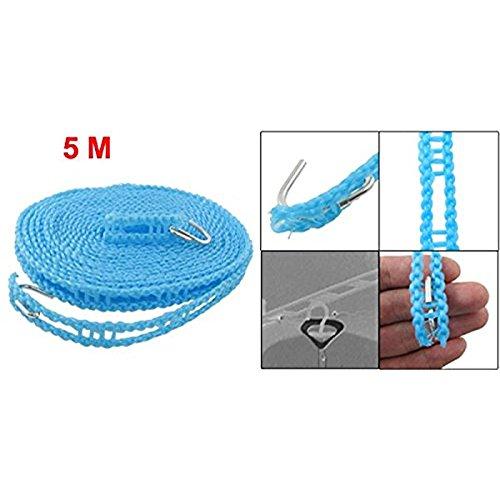 AKDSteel Nylon Kleidung Seil Line EIN Kleidung Linea Kunststoff Winddicht Zaun Eine ausziehbare Wäscheleine 5Meter Blau