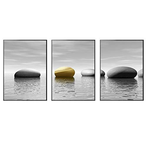 sjkkad Moderne eenvoudige Nordic Zwart en Wit Golden Sea Stone Slaapkamer Driebedskamer Decoratie Canvas Schilderij Wooncultuur 50x70 cm Geen lijst